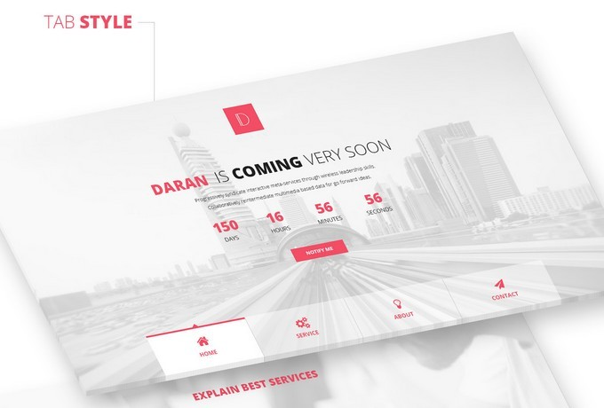 Daran - Free Coming Soon PSD Template