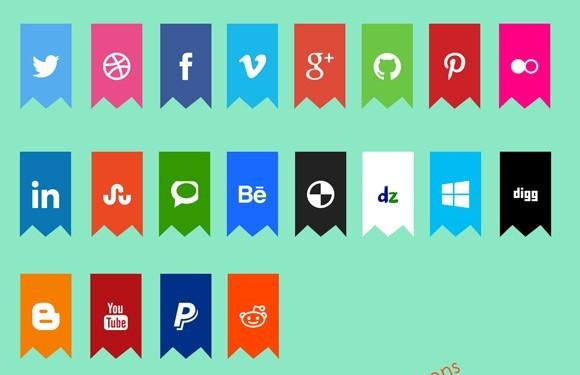 Flat Creative social Icons psd