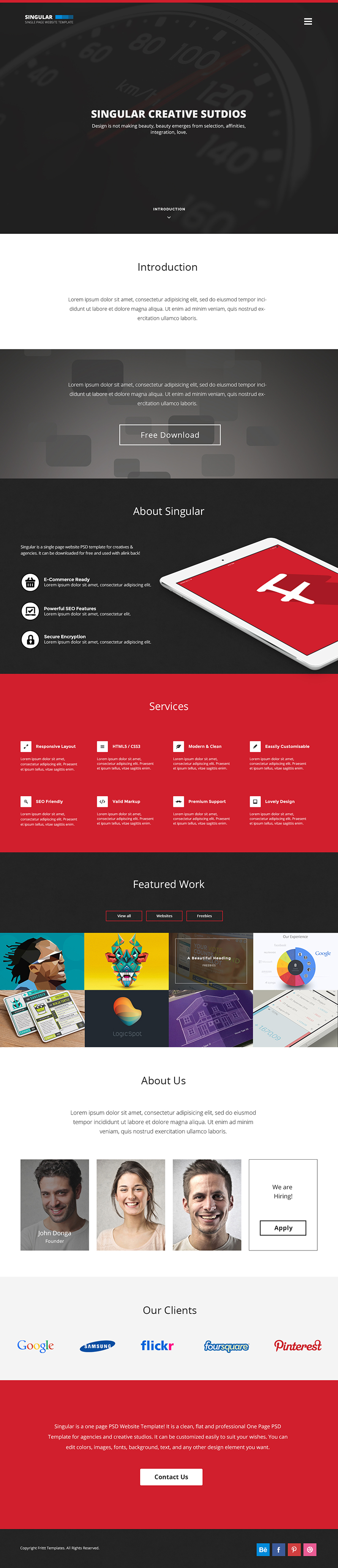 free one page website template singular - One Page Website Template Free