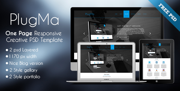 Plugma - One Page Responsive Free PSD Template