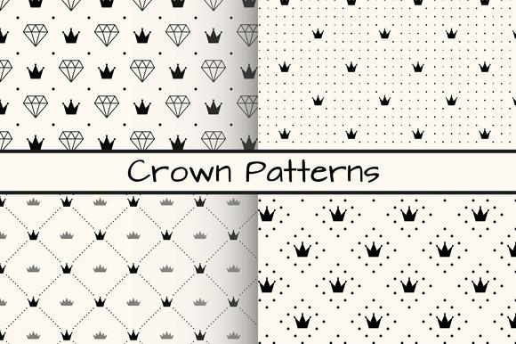 4 Monochrome Crown Patterns Free Download