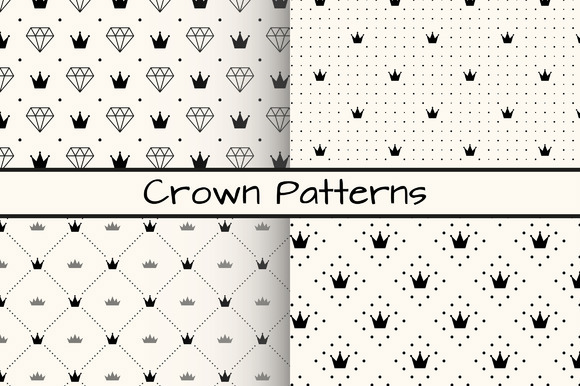 4 Monochrome Crown Patterns Free Download
