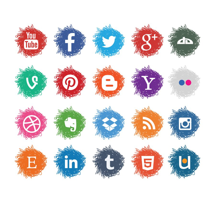 Vector Sketch Social Media Icons Set