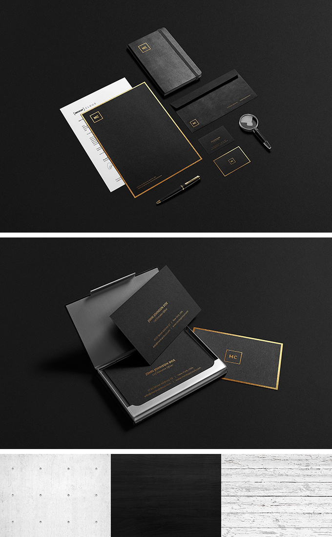Black + Gold Stationary Mock-Up