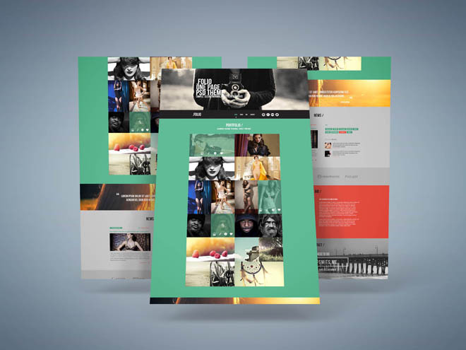 Folio Free Flat One page PSD Template
