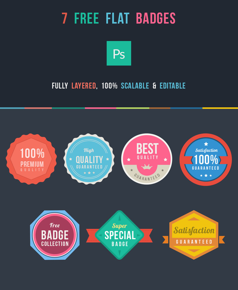 Free Flat Badges PSD