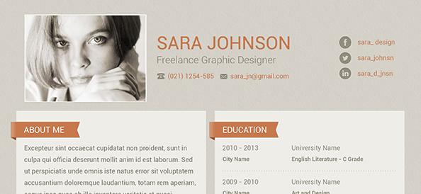 Free PSD Creative Resume Design