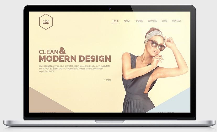 Hexagon - One Page Portfolio (Free PSD)