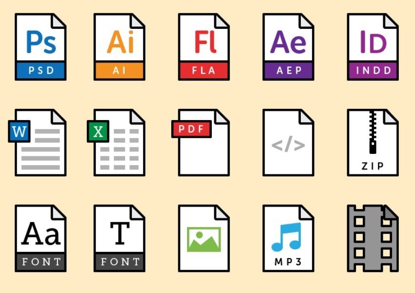 15 Vector File Type Icons