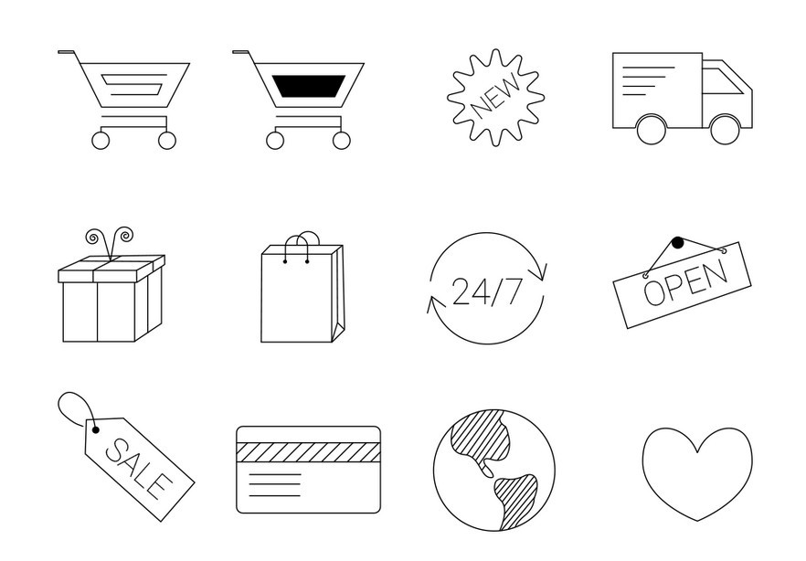 12 E-commerce Line Icons Vector