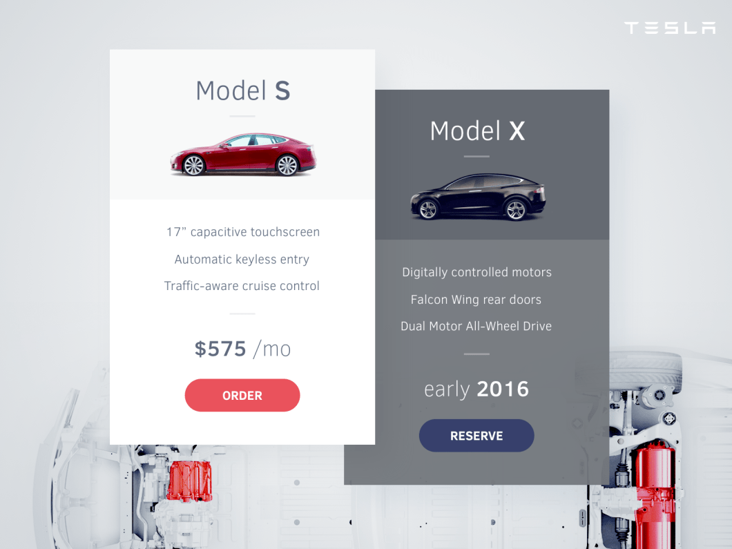 Tesla Pricing Table
