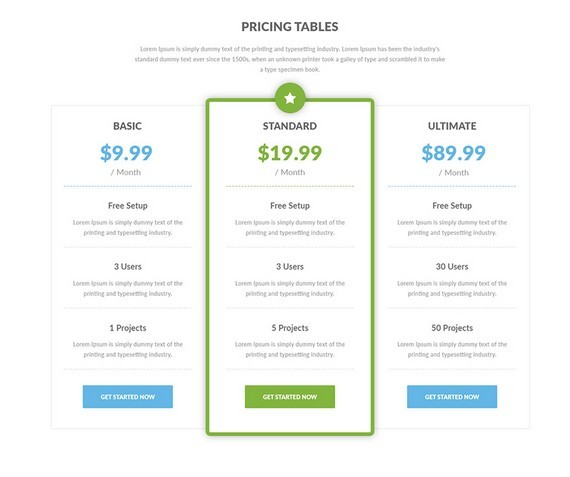 Free 8 Clean Pricing Tables Layouts