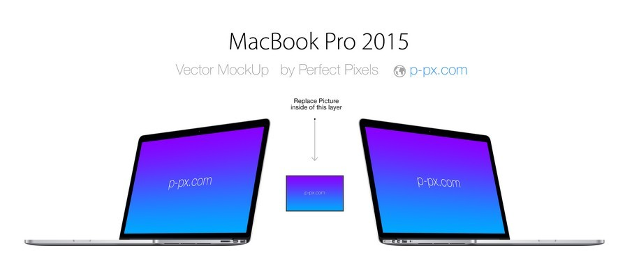 MACBOOK PRO 2015 ANGLED VIEW PSD + AI VECTOR TEMPLATE