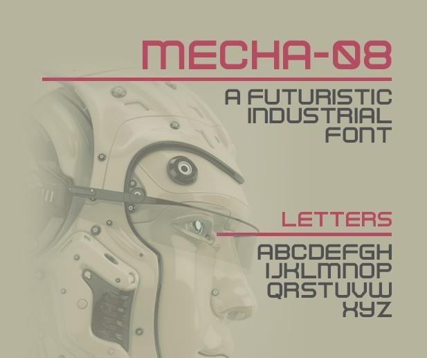Mecha 08 Futuristic Typeface