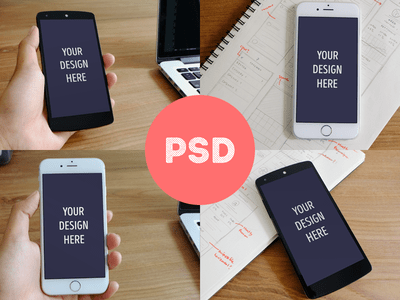 Photorealistic iPhone 6 + Nexus 5 mockups