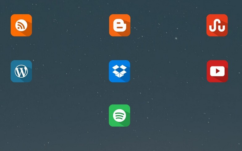 Social Media Long Shadow Flat Icons