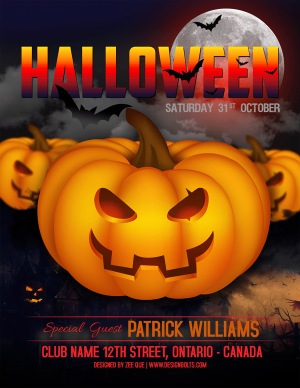 Free PSD Halloween Party Poster for 31st October 2015