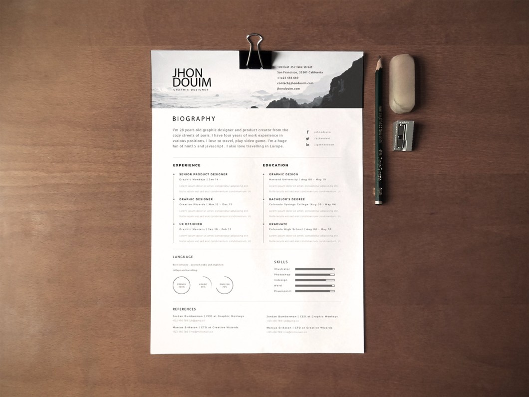 Resume Mockup 130 43 New Fashion Resume Cv Templates For Free Download