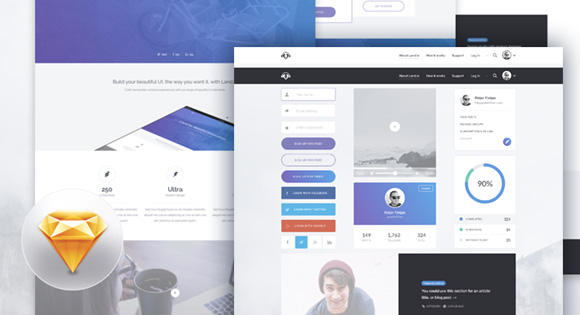 Land.io UI Kit + Landing Page Design