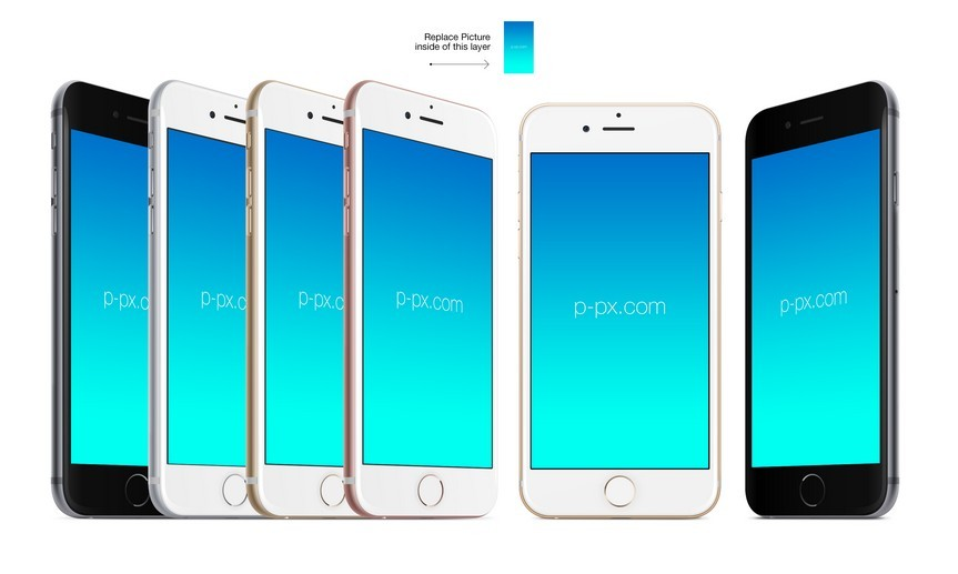 iPhone 6S front and angled views PSD + Ai mockup