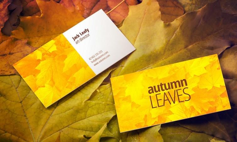 Free Autumn Leaves Business Card Mockup