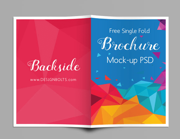 Free A4 Single Fold Brochure Mock-up PSD