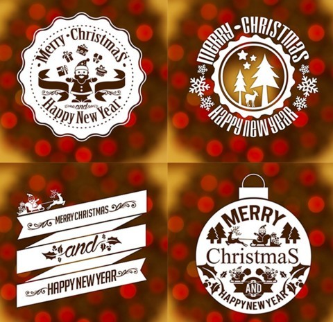 Free Christmas & New Year Vintage Labels Badges Sticker