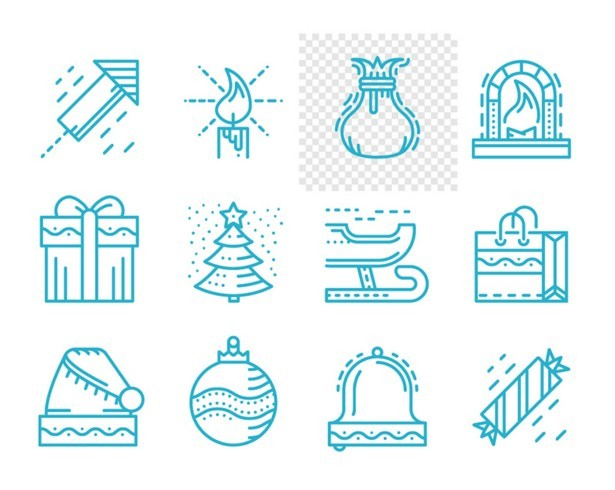 Merry Christmas and Happy New Year, line vector icons