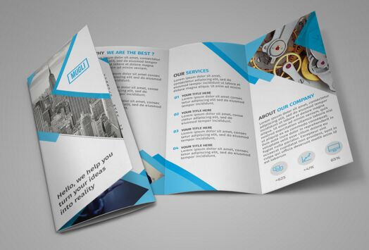 100 high quality free flyer and brochure mock ups for Two fold brochure templates free download