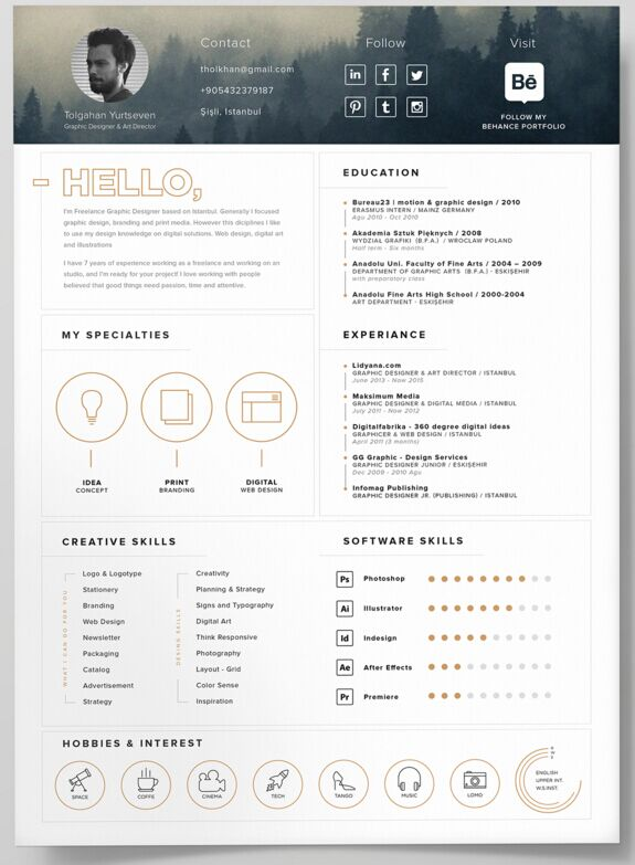 Self Promotion Resume Template PSD - Awesome free resume template with icons