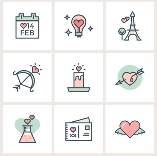 Valentine's Day Flat Line Icons