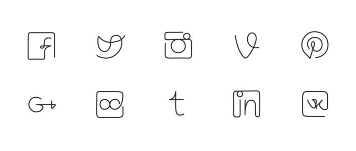 One line - Free Social Networks icons