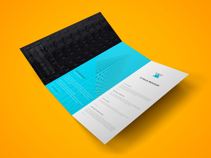 Z Fold Brochure PSD Mockup