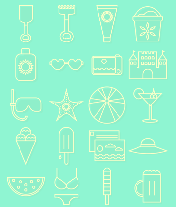 20 free vector summer icons