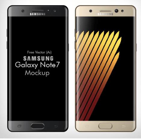 Free Vector Samsung Galaxy Note 7 Mockup