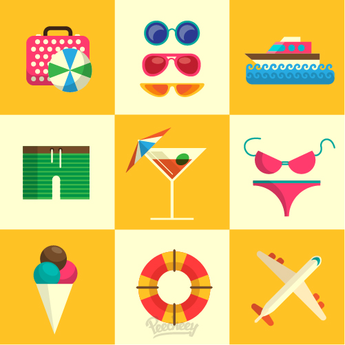 Summer beach icon set Free Vector