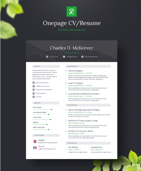 free one page cv template selo l ink co