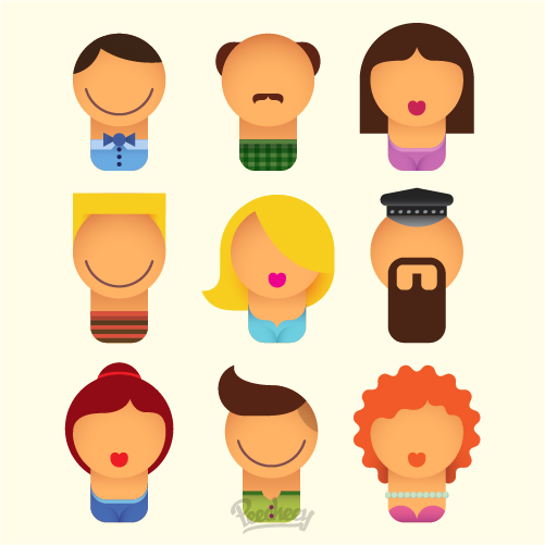 set-of-cheerful-avatars-free-vector