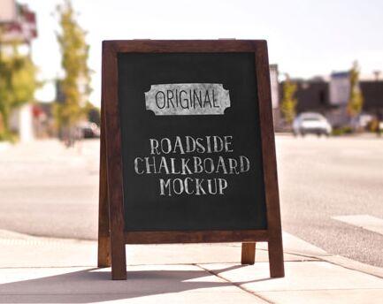Roadside Chalkboard Display Mockup PSD