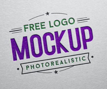 Free Debossed Color Logo Design Mockup PSD