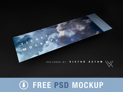 Free psd - Ticket mockup