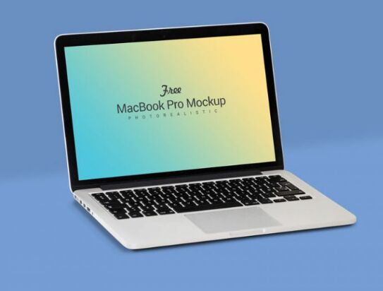 Free Fully Customizable Apple Macbook Pro Mockup PSD