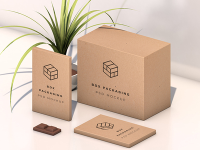 Isometric Box Packaging Psd Mockup