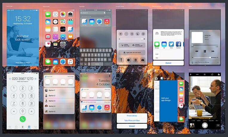 iOS 10 GUI (iPhone 7) PSD Sketch