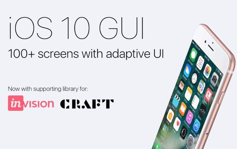iOS GUI with adaptive UI and InVision Craft Library