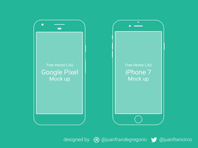 Free Google Pixel - iPhone 7 Mockup