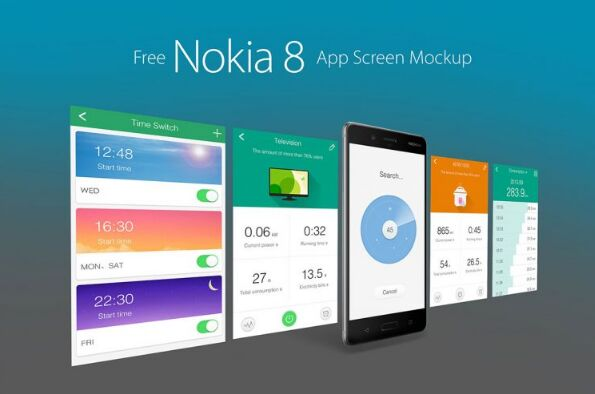 Free Nokia 8 Andriod Smartphone App Screen Mockup PSD