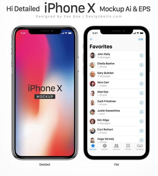 Free Vector Apple iPhone X Mockup in Ai & EPS