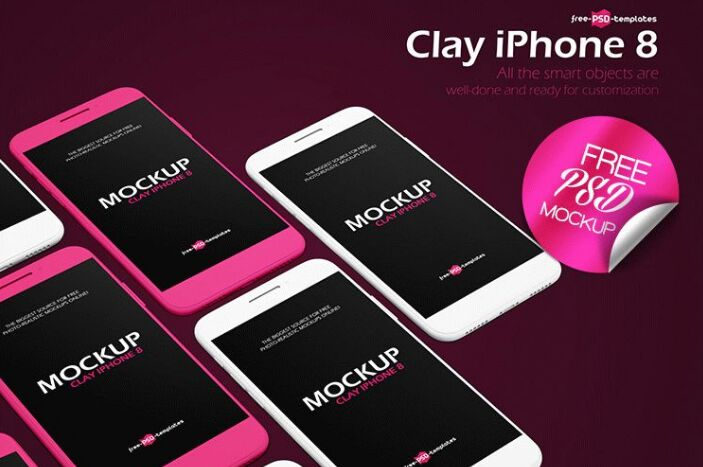 FREE CLAY IPHONE 8 MOCK-UP IN PSD