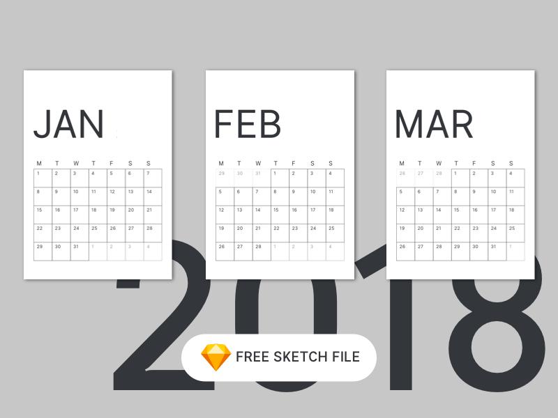 2018 Minimal Calendar For Sketch